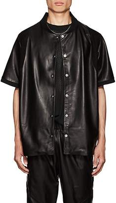 CARDONI Men's Star-Detailed Leather Short-Sleeve Jacket