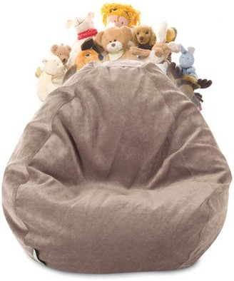 Majestic Home Goods Villa Velvet Stuffed Animal Storage Bean Bag Chair Cover w/ Transparent Mesh Base, Multiple Colors
