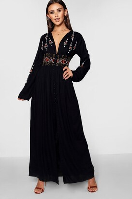boohoo Petite Alice Embroidered Button Front Maxi Dress