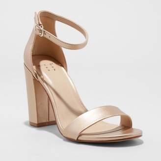 A New Day Women's Ema Satin High Block Heel Pump Sandal