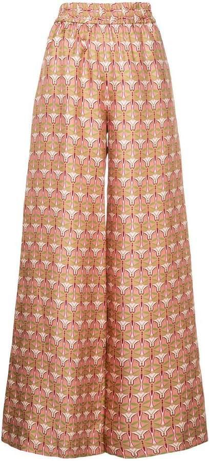 La Doublej patterned wide leg trousers