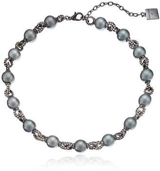 Anne Klein Hematite-Tone Pearl and Black Diamond Around Collar Necklace