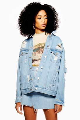 Topshop Ripped Denim Jacket