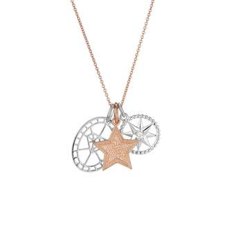 One and One Studio - Sterling Silver & Rose Gold Star Diamond Pendant Set