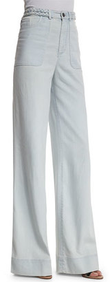 Alice + Olivia Juno High-Rise Wide-Leg Pants, Light Blue $298 thestylecure.com