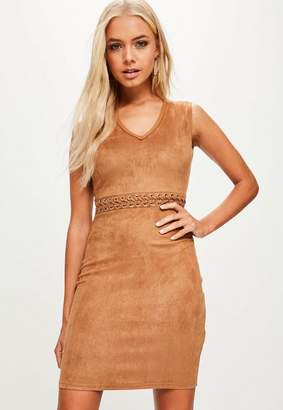 Missguided Camel Lace Up Waist Faux Suede Dress