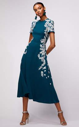 Oscar de la Renta Short Sleeve Embroidered Spruce Midi Dress