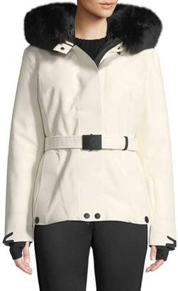 Moncler Laplance Belted Coat w/ Detachable Fur