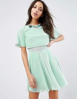 ASOS Embellished Floral Trim Flutter Sleeve Mini Dress $53 thestylecure.com