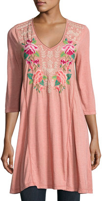 JWLA for Johnny Was 3/4-Sleeve Draped T-Shirt Tunic, Pink $115 thestylecure.com