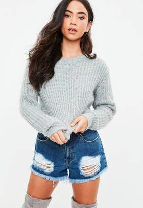 Missguided Gray Fluffy Knit Sweater