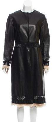 J. Mendel Fur-Trimmed Leather Coat