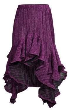 Romance Was Born Pleated Ruffle Handkerchief Hem Midi Skirt