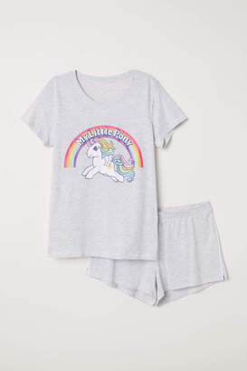 H&M Pajama Set with Top and Shorts - Light gray/My Little Pony - Women