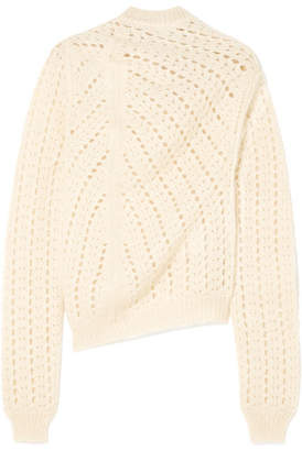 Jil Sander Open-knit Mohair And Silk-blend Turtleneck Sweater - White