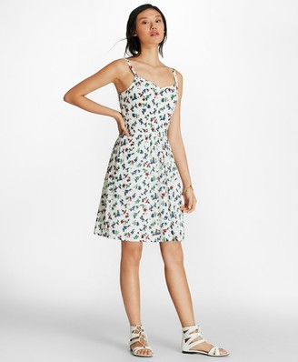 Brooks Brothers Bird-Print Cotton Swiss Dot Sundress