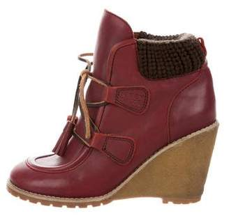 See by Chloe Leather Wedge Ankle Boots