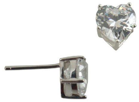 Sterling Silver Cubic Zirconia Earring Heart Stud