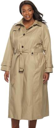 London Fog Tower By Plus Size TOWER by Hooded Solid Trench Coat