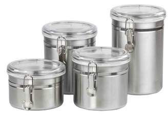 clear Generic Home Basics 4-Piece Stainless Steel Canister Set with Plastic Lids