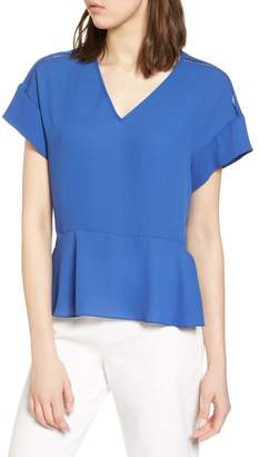 Halogen Ruffle Sleeve Peplum Stretch Cotton Blend Top (Regular & Petite)