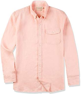 Isle Bay Linens Men's 100% Linen Long Sleeve Button-Down Collar Casual Woven Shirt Slim Fit