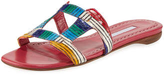 Manolo Blahnik Grella Multicolor Snakeskin Slide Sandals