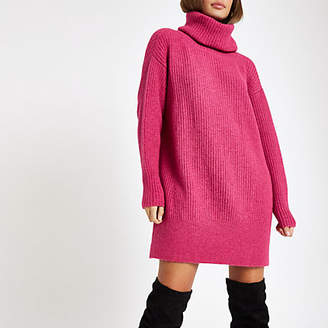 River Island Womens Pink knit roll neck jumper dress