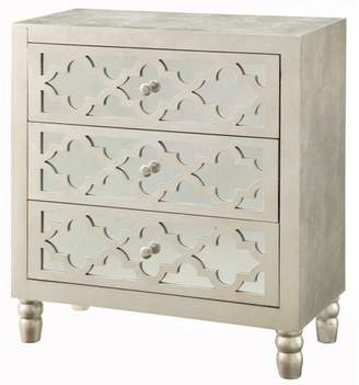 Crestview Collection Newcastle 3 Drawer Silver Leaf Chest