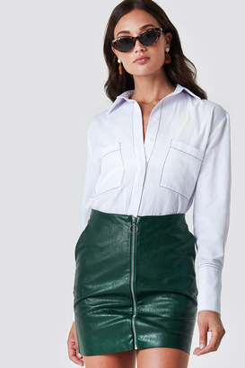 Rut & Circle Rut&Circle Pu Zip Pocket Skirt Forest Green