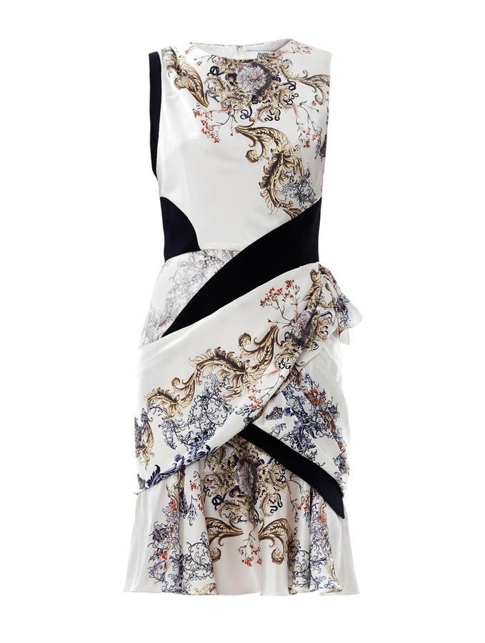 Prabal Gurung Baroque-print ruffle silk dress