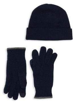 Saks Fifth Avenue Two-Piece Wool Cashmere Beanie & Gloves Set