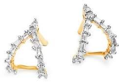 Adina 14K Yellow Gold Baguette Diamond Double J Hoop Earrings