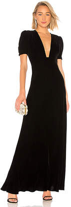 Jill Stuart Plunge Neck Velvet Gown