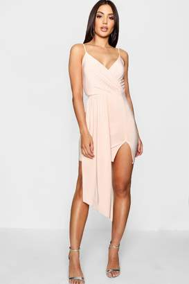 boohoo Strappy Drape Front Wrap Bodycon Dress
