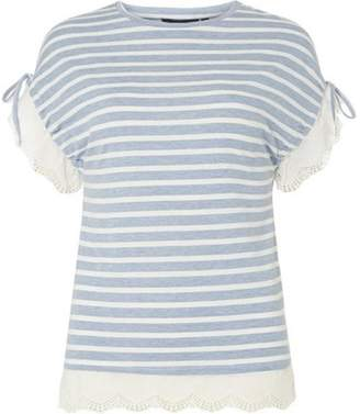 Dorothy Perkins Womens Chambray Striped Broderie T-Shirt