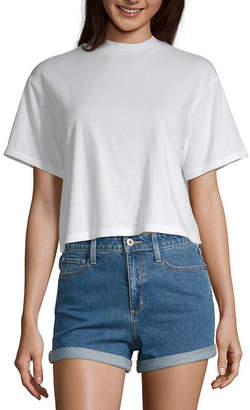 Arizona Womens Mock Neck Short Sleeve T-Shirt Juniors