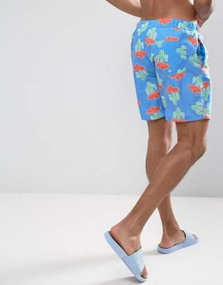 Asos Design DESIGN swim shorts with cactus print in mid length