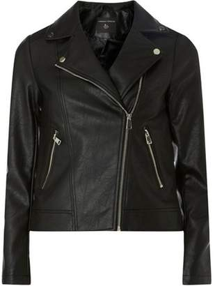 Dorothy Perkins Womens Black Faux Leather Biker Jacket