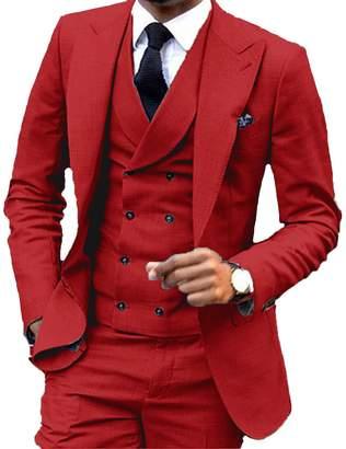 JYDress JY Men's Fashion 3 Pieces Men Suits Wedding Suits for Men Groom Tuxedos