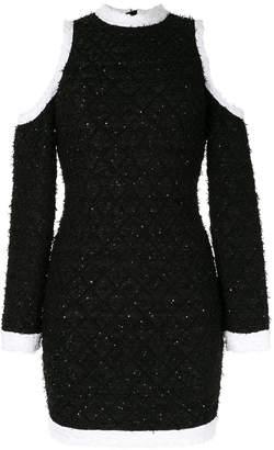 Balmain cut-out shoulder fitted dress