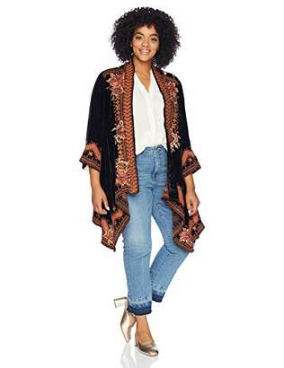 Johnny Was JWLA By Women's Size Plus 3/4 Sleeve Draped Cardigan with Embroidery