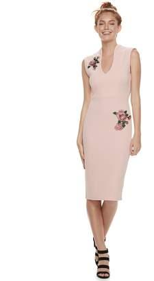 Almost Famous Juniors' Rose Applique Bodycon Dress