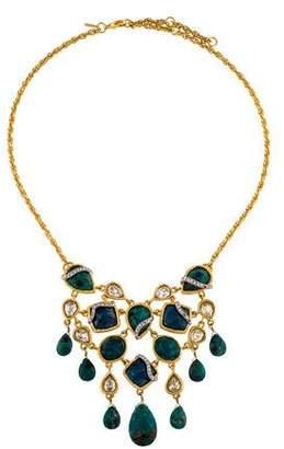 Alexis Bittar Chrysocolla & Crystal Elements Collar Necklace