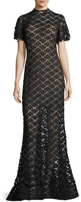 Jovani Short-Sleeve Crochet Overlay Evening Gown