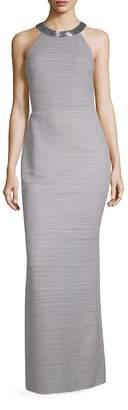 Carmen Marc Valvo Women's Striped High Neck Column Gown