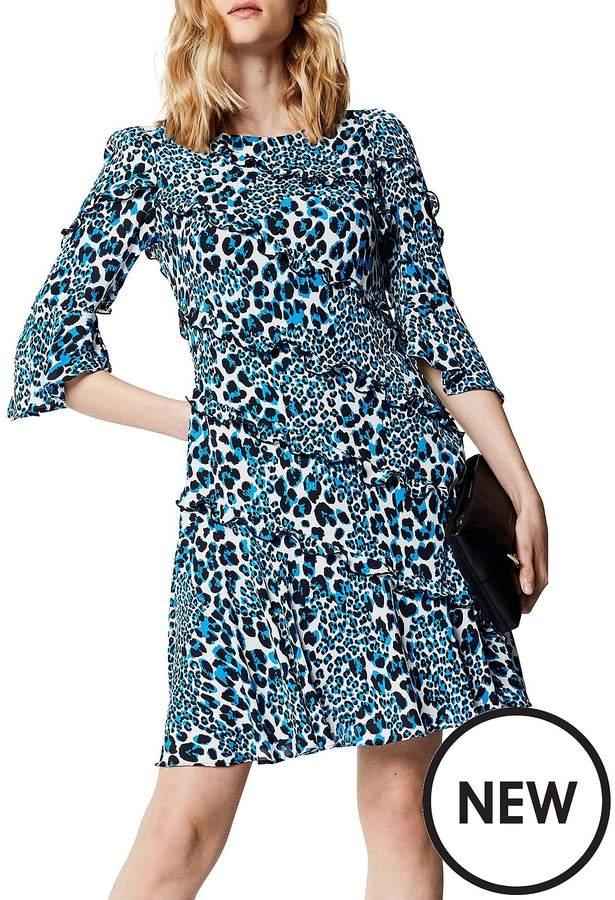 Leopard Print Dress With Frills