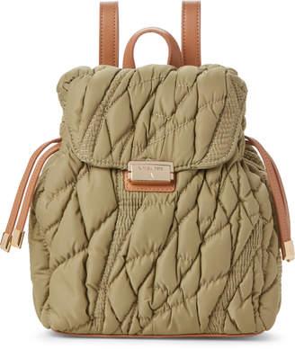 Patrizia Pepe Military Green & Tan Satin Mini Backpack