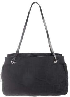 Fendi Leather-Trimmed Zucca Shoulder Bag Black Leather-Trimmed Zucca Shoulder Bag