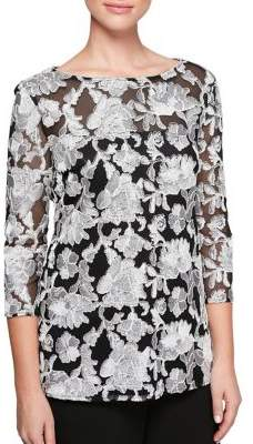 Alex Evenings Quarter-Sleeve Embroidered Tunic Blouse